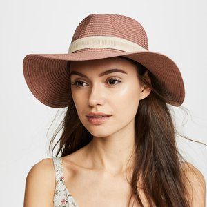 New Madewell Packable Mesa Straw Hat Coral M-L